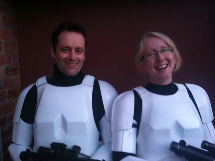 Edward and Nalini as stormtroopers