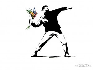 Man and flowers by Bansky