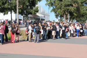 The queue for Supanova early on Saturday morning