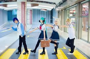 Cosplayer:  Bright, Rinka, Bridget, Akira Series:  Project Diva 2nd Character:  Kaito, Miku Hatsune, Rin Kagamine, Len Kagamine