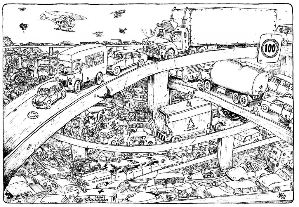 Cloverleaf traffic jam: a silly illo by Ian Gunn