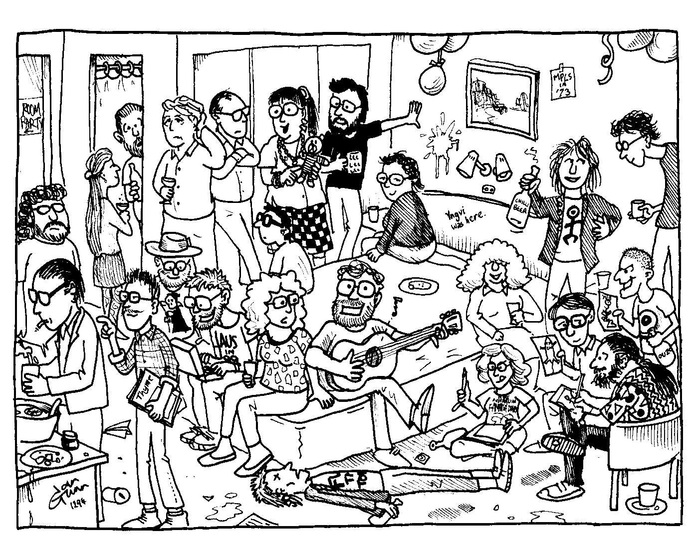 Room Party: another silly illo by Ian Gunn