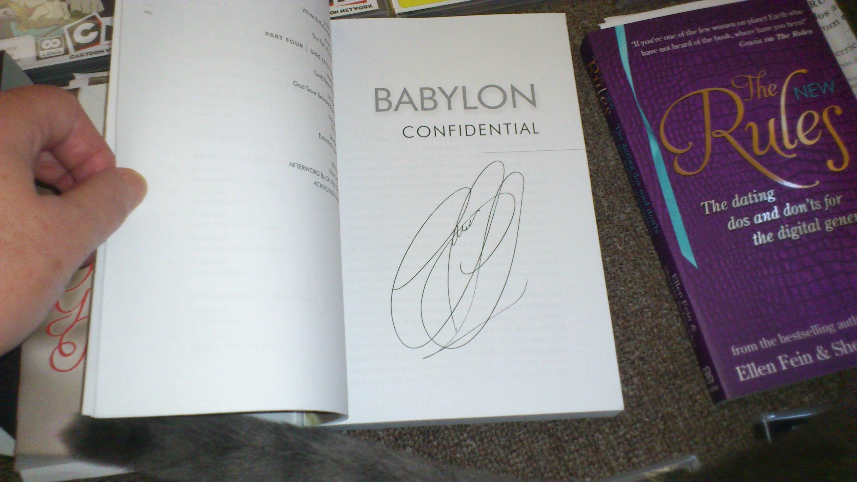 autographed copy of Babylon Confidential