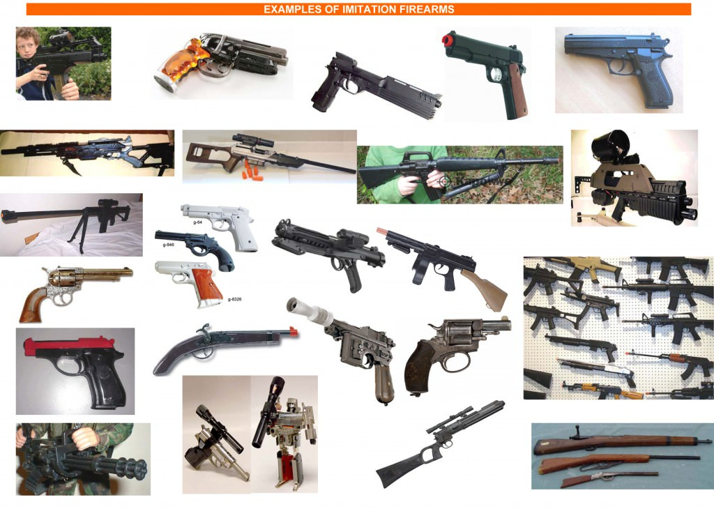 Examples of imitation firearms that require permits; image from the Victorian Police website in 2011