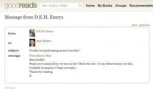 'my debut fantasy novel, available on Amazon'