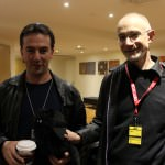 Joel Shepherd and Sean McMullen with Edgar Allan Purr