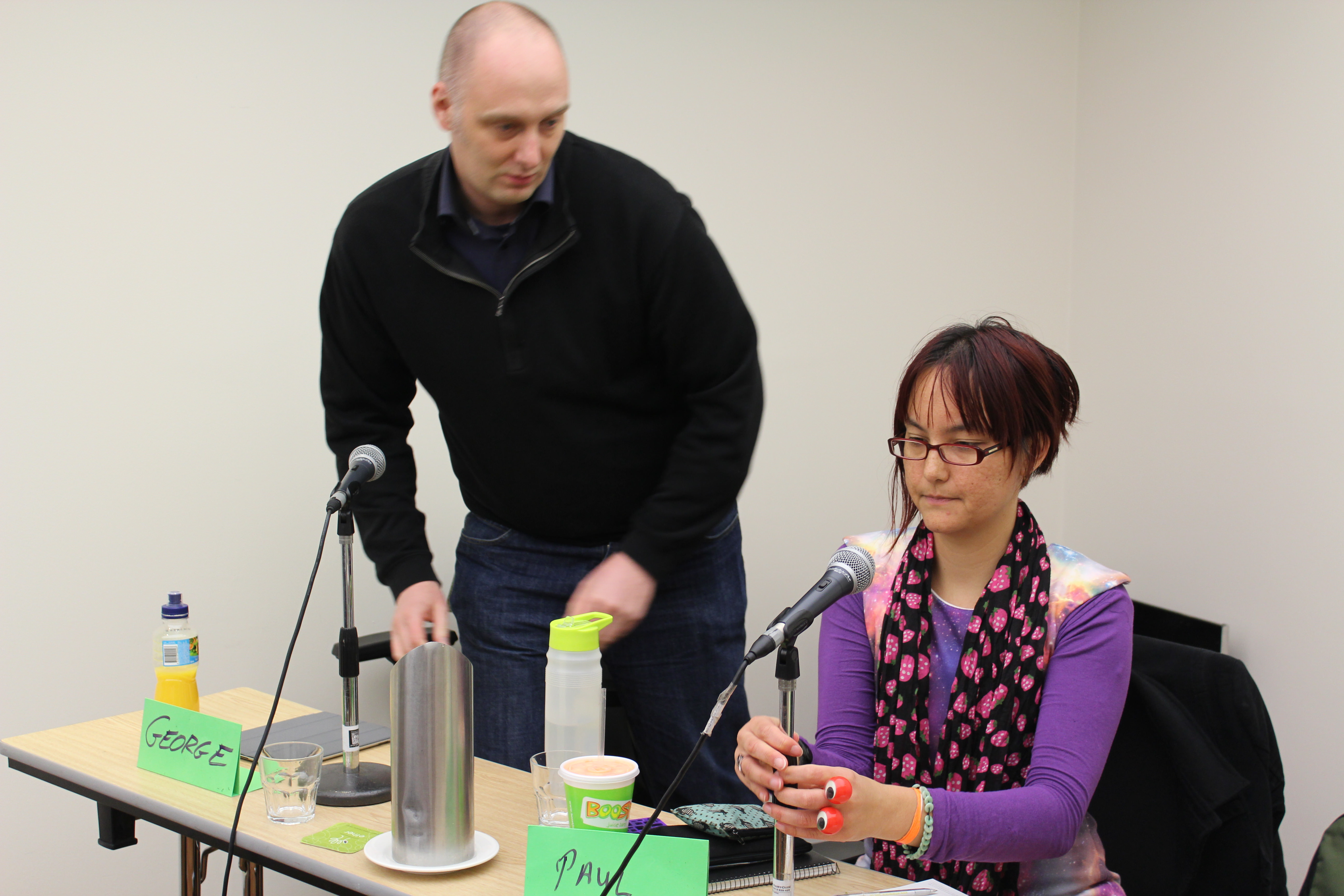 David Witteveen and Stepanie Lai setting up for the Cultural Misappropriations panel