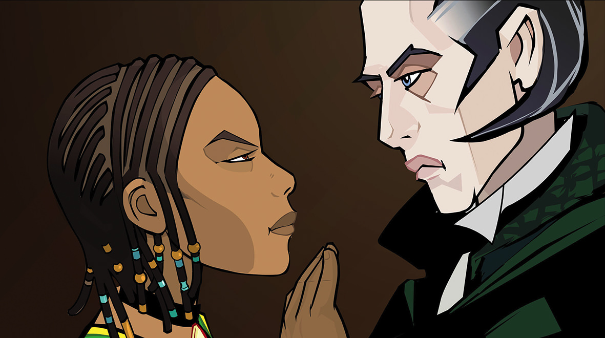 Sophie Okonedo and Richard E Grant as animated characters