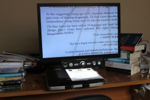 desktop magnifier, also called a CCTV