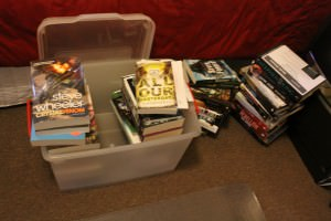 Shelfie, um, book box? Books, books everywhere, on the bed and on the stair...