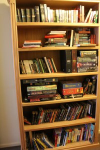 Shelfie: The bookshelves in the hall are about 7ft high and 3ft wide. There are two. Sadly when we tried to get a matching pair they were no longer available.