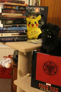 Pikachu and Edgar Allan Purr came out to play with items received
