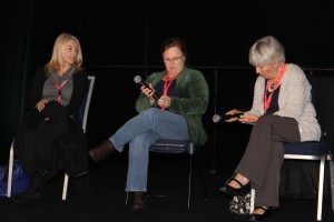 Creating Epic Fantasy panel: Traci Harding, Kylie Chan and Juliet Marillier smiling for the camera