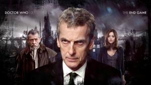 John Hurt (left), Peter Capaldi (center) as the new Doctor and Jenna Coleman as souffle girl