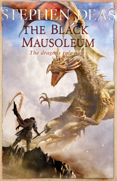 the black mausoleum - a man stands before a much larger dragon attacking him