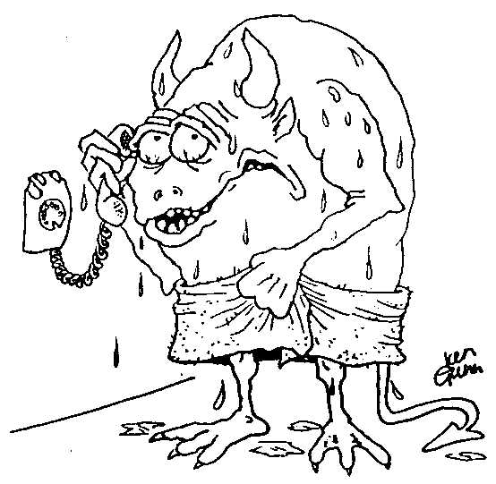 Alien answering the phone - another silly illo from Ian Gunn