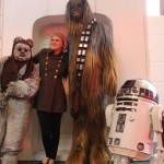 Ewok, Chewie and R2 with human