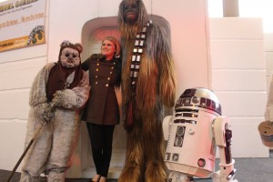 Ewok, Chewbacca (our favorite Wookie) and R2 with human