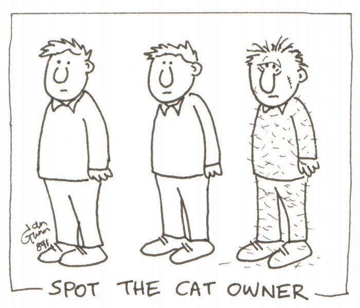 Spot the cat owner — a silly illo by Ian Gunn