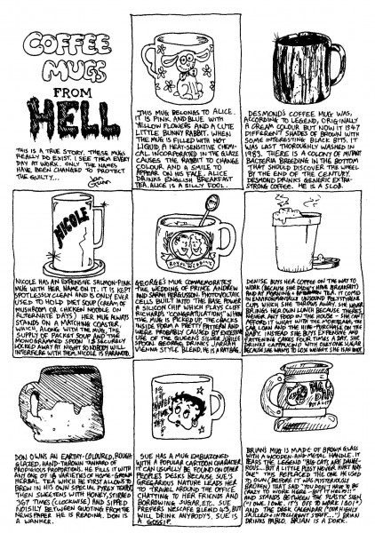 Coffee Mugs from Hell — a silly illo by Ian Gunn