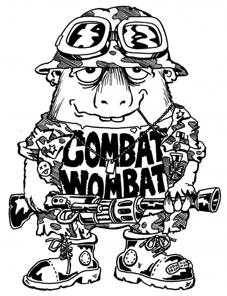 Combat wombat — a silly illo by Ian Gunn