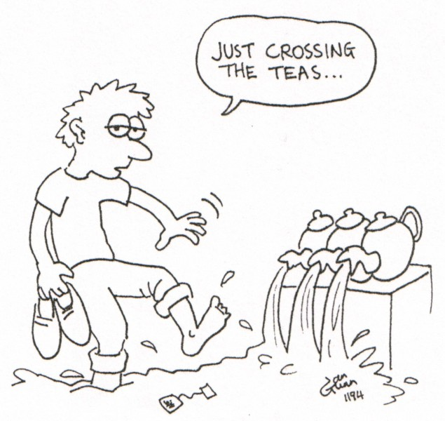 Crossing the teas — a silly illo by Ian Gunn