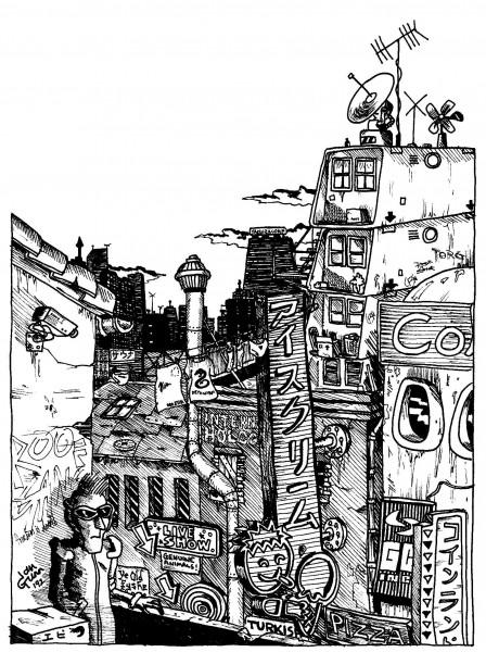 Cyberpunk rooftop — a silly illo by Ian Gunn