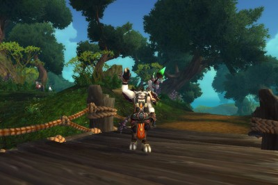 World of Warcraft tauren druid waving