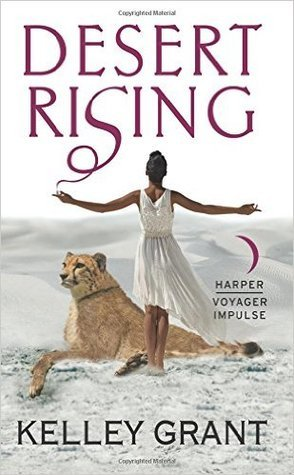 Desert Rising: a woman stands with her arms outstretched over a big cat.