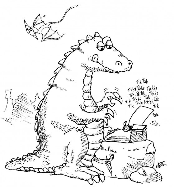 Dino writer — a silly illo by Ian Gunn