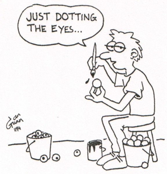 Dotting the eyes — a silly illo by Ian Gunn