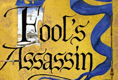 Fool's Assassin: gold background with gothic title and a pennant