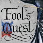 Fool's quest silver background, gothic title with an illuminated letter, a crow flying into frame from the right border