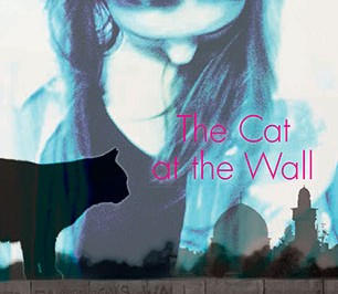 The Cat at the Wall : a cat on a wall with Middle Eastern buildings behind, a transparent girl looks down on the cat
