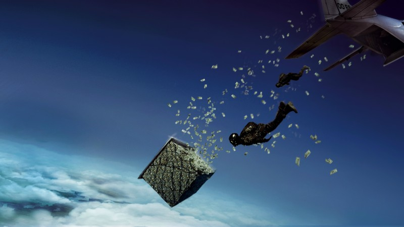 Point Break — skydiving after the pallets of money