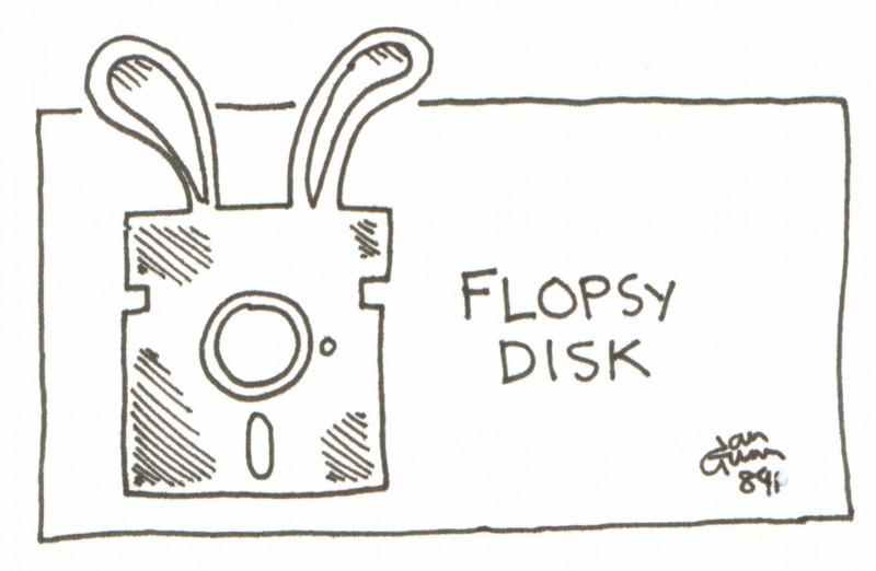 Flopsy disk — a silly illo by Ian Gunn
