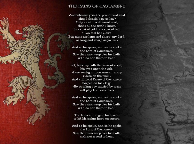 GoT The Rains of Castamere