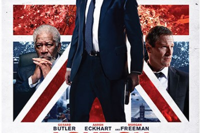 London Has Fallen — Morgan Freeman, Gerard Butler and Aaron Eckhart in front of a British Flag