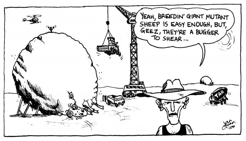 Giant sheep — a silly illo by Ian Gunn
