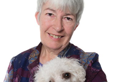 Juliet Marillier with a rescue poodle
