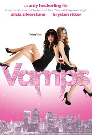 Vamps — two women in little black dresses drape themselves over the title