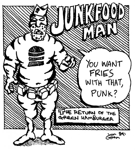 Junkfoodman (aka the Green Hamburger) — a silly illo by Ian Gunn