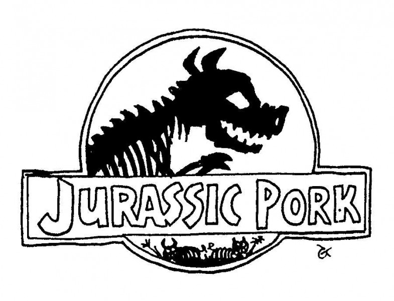 Jurassic Pork — a silly illo by Ian Gunn