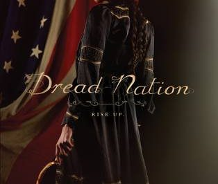 Dread Nation: a woman of colour holds a sickle standing in profile in front of a US flag
