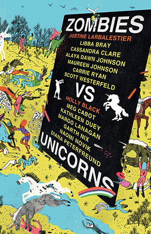 zombies vs unicorns: a bill board advertises authors' names amidst a busy cartoonish scene with tiny characters