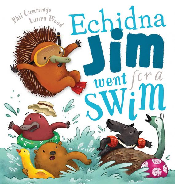 Echidna Jim jumps into the water scaring his friends