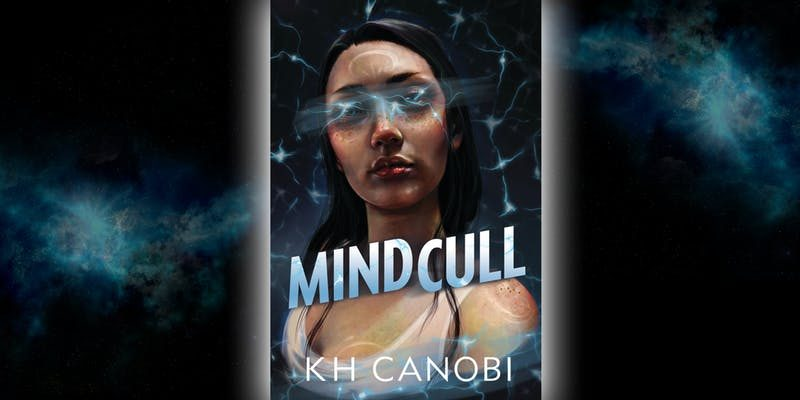 Mindcull: a woman looks out of the page with wisps of light around her head and over her face. The title Mindcull appears disjoined .