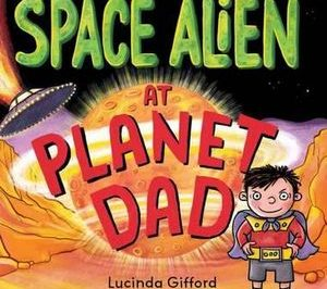 Space Alien at Planet Dad a boy in a space suit stands on an alien planet while a space ship comes in to land