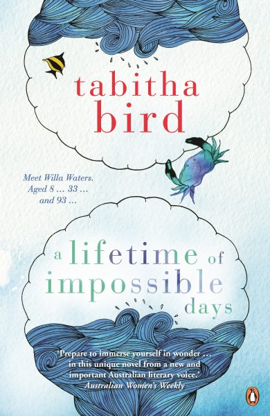 A lifetime of Impossible Days: two bubbles have ocean, the top has the ocean upside down. A fish and a crab feature between the author name and title.