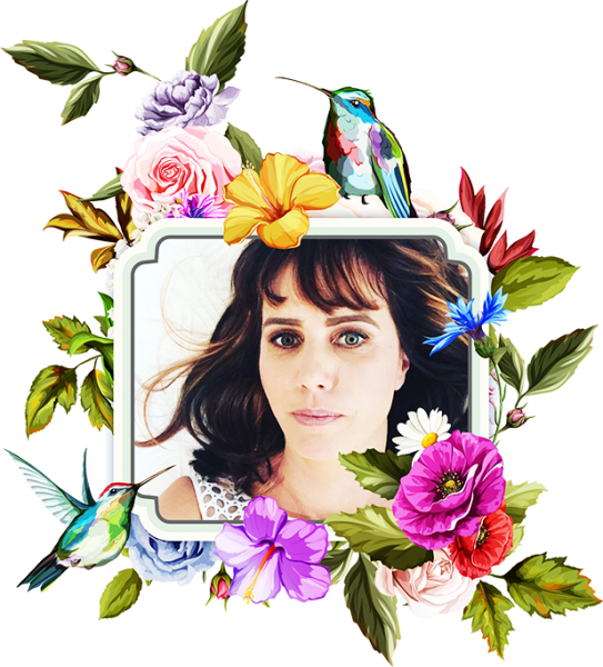 Tabitha Bird's portrait is surrounded by birds and flowers
